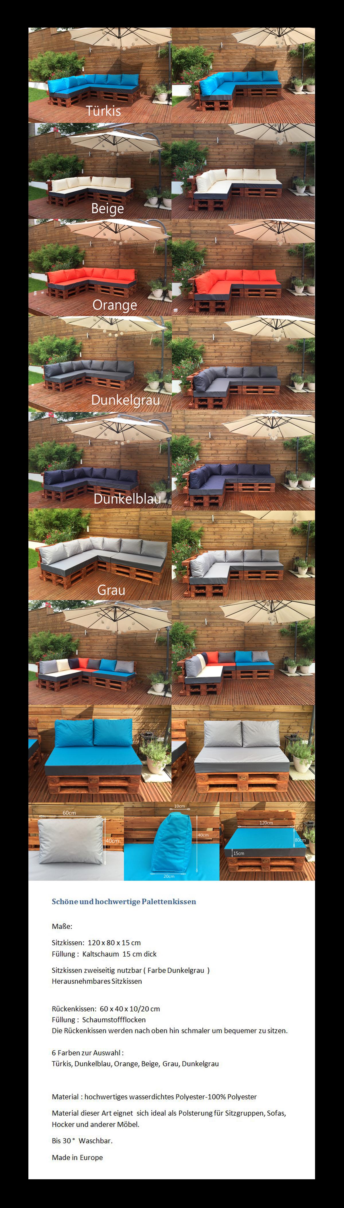 palettenkissen palettenauflage sitzkissen palettensofa euro paletten polster ebay. Black Bedroom Furniture Sets. Home Design Ideas