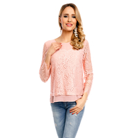 Top Langarm Miss Sara A503 Rosa - One Size