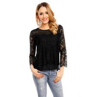 Top Langarm Miss Sara A503 Schwarz - One Size