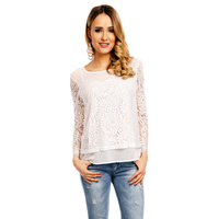 Top Langarm Miss Sara A503 Weiss - One Size