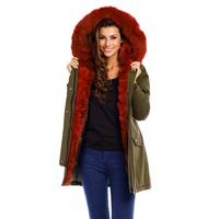 Jacke Attentif PK-1667 Khaki-Bordeaux XL