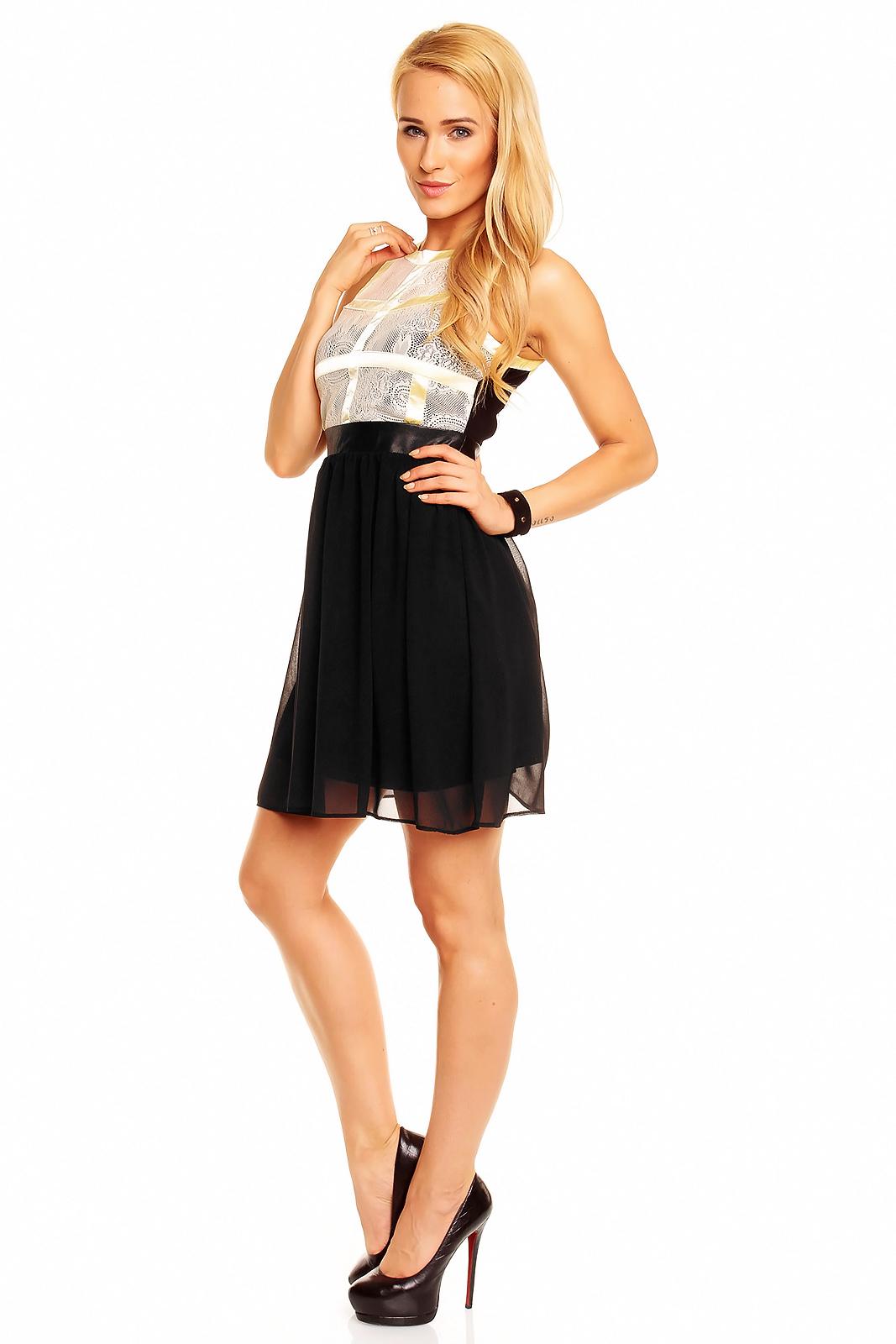 Kleid Mayaadi HS-302 Creme-Gelb-Schwarz M