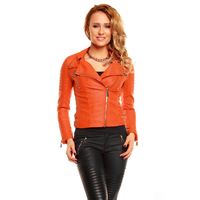Jacke Leder Look Voyelles 3B069 Orange XL