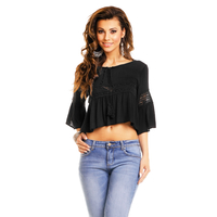Bluse May Collection MC3438 Schwarz S/M